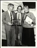Barry Cohen, Joe Skrzynski and Anne Deveson behind the plaque commemorating the foundation ceremony the new building for the Australian Film and Television School, Macquarie University, Sydney, 1986 / Promotion Australia photograph by Peter Kelly