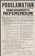 Proclamation Reinforcements Referendum  (Z265) [picture] /