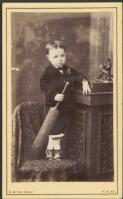 Boy toddler holding a cricket bat, Albury, New South Wales, ca. 1880 / Burton Brothers