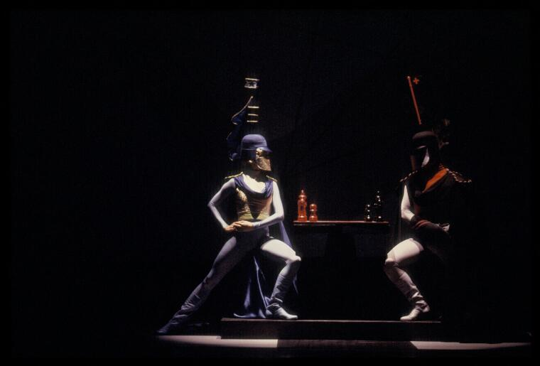 McMurdo, Don, 1930-2001. [Portrait of two unidentified ballet dancers in Checkmate, Australian Ballet, June 1992, 1] [transparency]