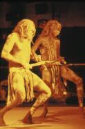 Yothu Yindi's Wityana Marika and Mangatjay Yunupingu performing at WOMADelaide, Adelaide, 1993 / Tim Webster