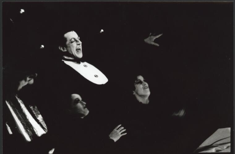 Wilson, David, 1953- Dennis Olsen as Emcee in 'Cabaret', State Theatre Company of South Australia, 1991 [1] [picture]