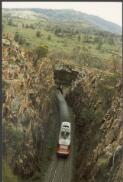 Northbound XPT climbing Bethungra Spiral, 1987, 1