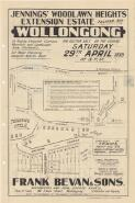 Jennings' Woodlawn Heights extension estate, Eastern Ave, Wollongong : for auction sale on the ground Saturday 29th April 1939 at 3 p.m. / Frank Bevan & Sons, auctioneers, and real estate agents, (Phone 73, 2 lines) 186 Crown Street, Wollongong (established over 50 years)