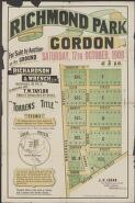 Richmond Park, Gordon : for sale by auction on the ground Saturday, 17th October, 1908 at 3 p.m. / Richardson & Wrench Ltd., auctioneers 98 Pitt St., in conjunction with T.W. Taylor, 5 Moore St., Sydney & Park Ave. Gordon