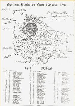 Settlers blocks on Norfolk Island 1796 [cartographic