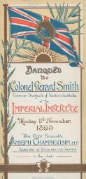 [Souvenirs of banquet to Colonel Gerard Smith]