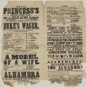 Royal Princess's Theatre, Oxford Street ... this evening, Tuesday, September, 23rd, 1851 ... Duke's Wager ... : to be followed by a farce by Alfred Wigan Esq. entitled A Model of a Wife ... to conclude with ... Alhambra, or The Three Beautiful Princesses ..