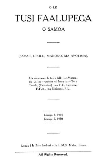 O Le Tusi Faalupega O Samoa Savaii Upolu Manono Ma Apolima