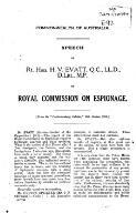 Speech by ... H.V. Evatt ... on Royal Commission on Espionage