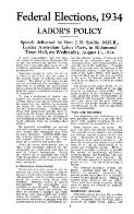 Federal elections, 1934 : Labor's policy / speech delivered by J.H. Scullin ... Richmond Town Hall on Wednesday, August 15th, 1934