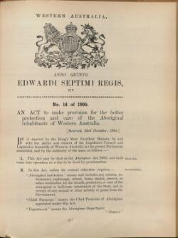 Aborigines Act 1905 (1906 - 1964)