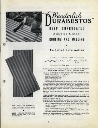 Wunderlich Corrugated Durabestos Asbestos Cement Roofing And Wall Siding
