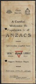 A cordial welcome to Capetown for all ANZACS : information supplied from ANZAC Y.M.C.A. Lounge / W.H. Turner, C.F. O'Halloran Wright